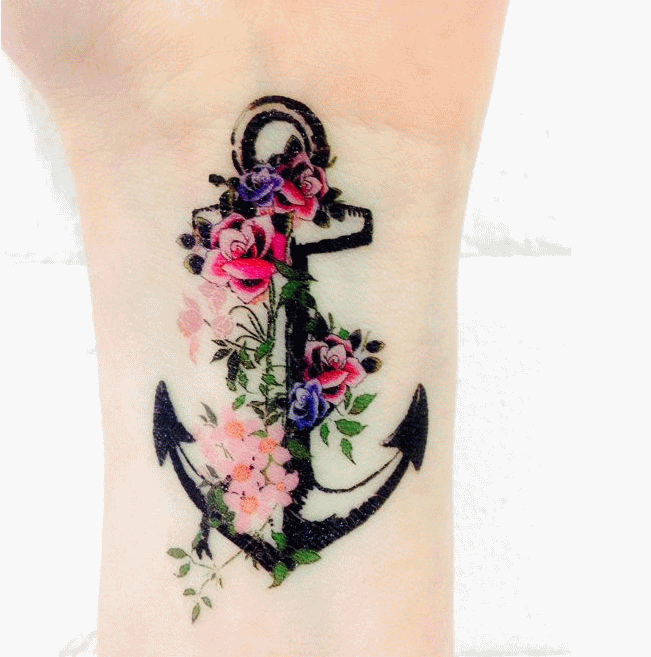 85 beautiful anchor tattoos and ideas for Anchor with flowers tattoo