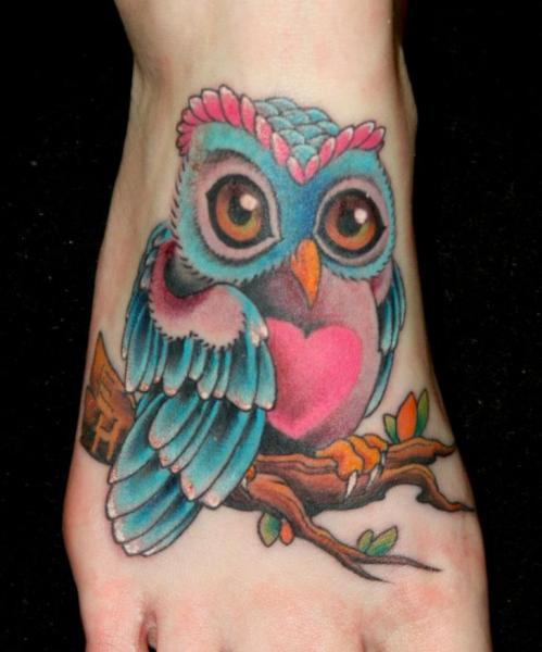 Colorful Cute Owl Tattoo On Foot By Angelia