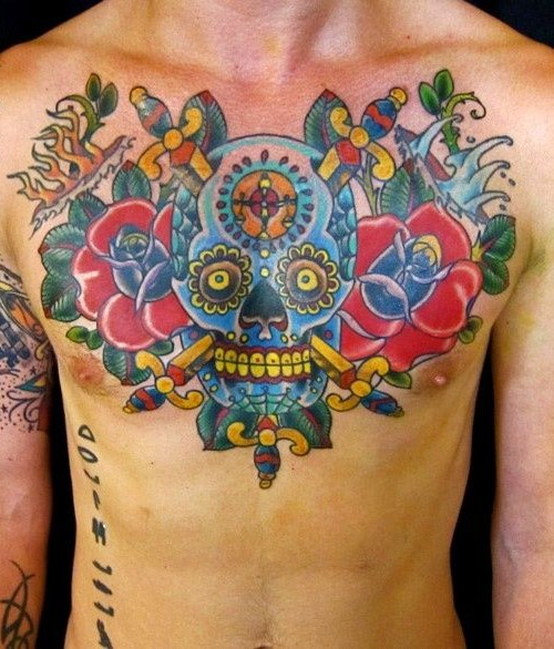 Colorful Dagger In Skull With Roses Tattoo On Man Chest