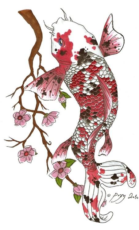 3b138221e Colorful Koi Fish With Flowers Tattoo Design By Rrela