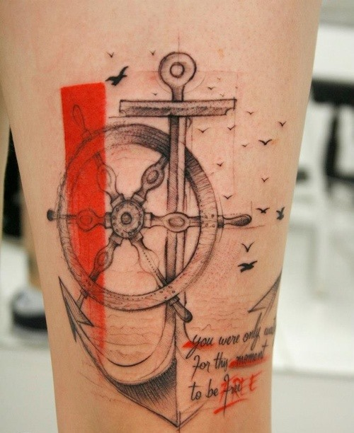 85 beautiful anchor tattoos and ideas for Anchor and wheel tattoo
