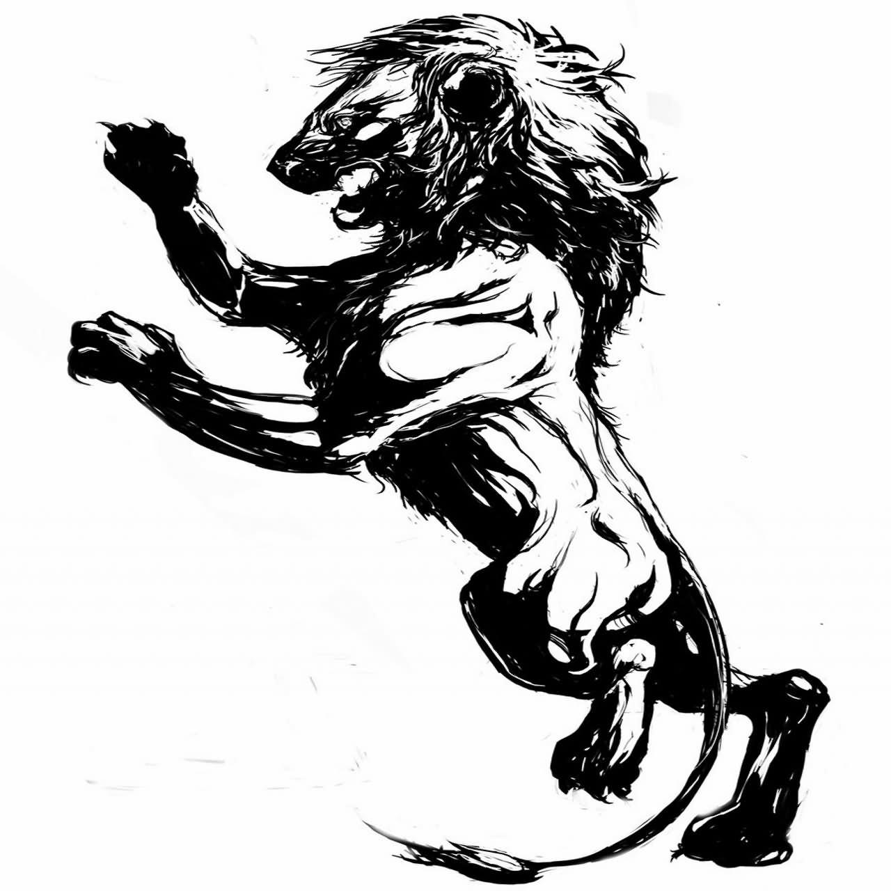 b7b5f3c0b Freehand climbing lion tattoo sketch by TGM