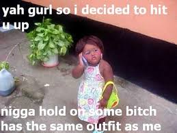 Funny Black Baby Girl On Phone