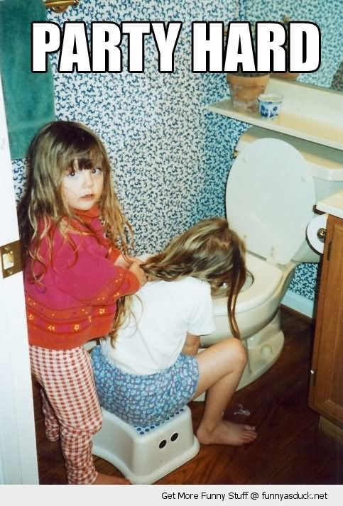 Girl Kid Vomiting After Party Funny Picture - Free funny after party photos