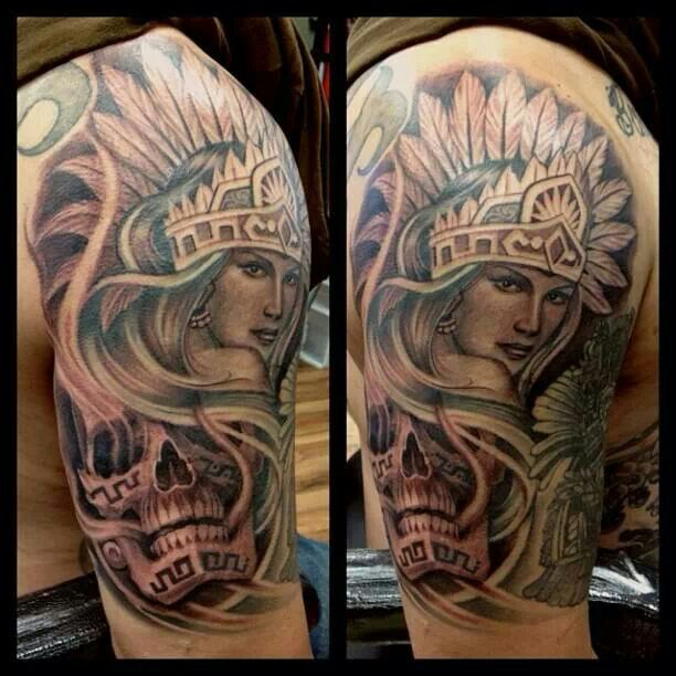 6a09dabfaab8d Grey Ink Aztec Girl Tattoo On Right Half Sleeve