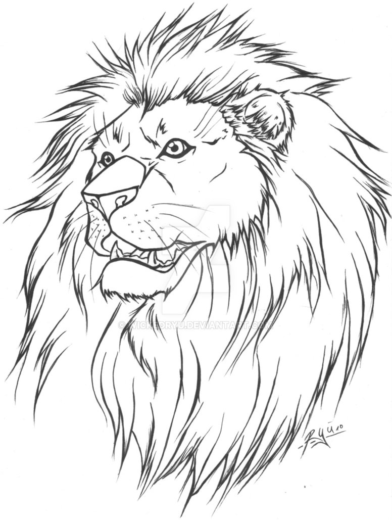 Line Drawing Lion Head : Famous lion tattoo design sketches