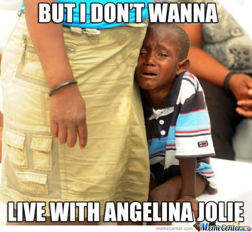 Live With Angelina Jolie Funny Black Baby Meme