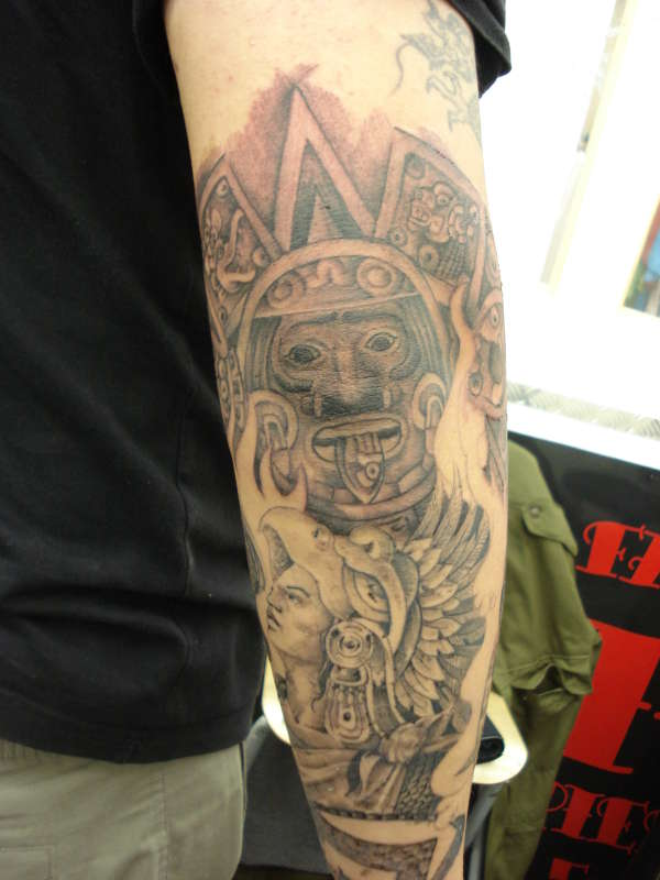 3d916aeeb1936 Man Right Sleeve Grey Ink Aztec Tattoo For Men