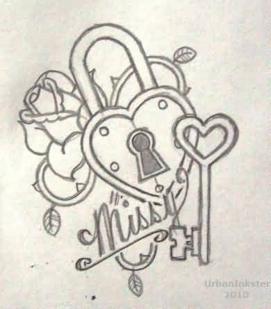 Realistic 3D Heart Shape Lock With Key Tattoo Design For Half Sleeve