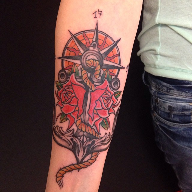Nice Rose Flowers And Anchor Tattoo On Right Forearm