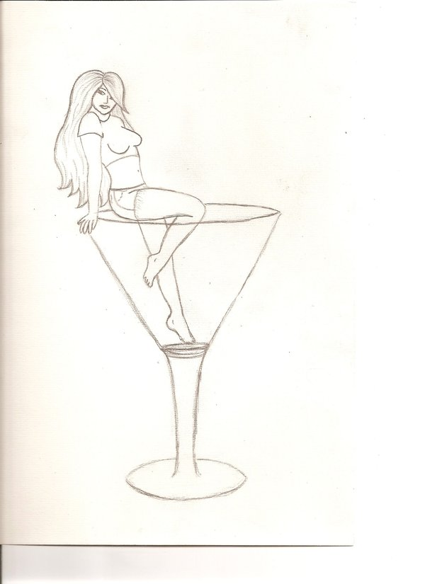 pin up girl in martini glass tattoo stencil by seb. Black Bedroom Furniture Sets. Home Design Ideas