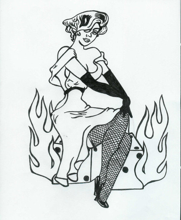 pin up nurse tattoo design for thigh by bruce riehl. Black Bedroom Furniture Sets. Home Design Ideas