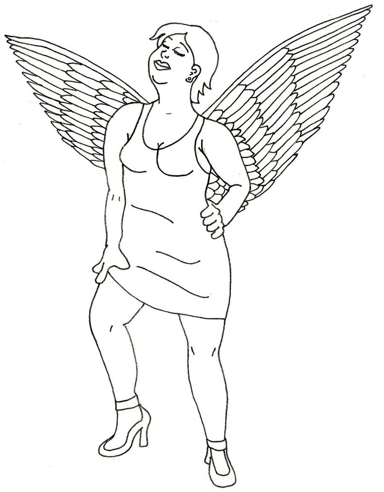 Tattoo pin up girls designs - Pin Up Girl With Wings Tattoo Stencil By Captainquirk