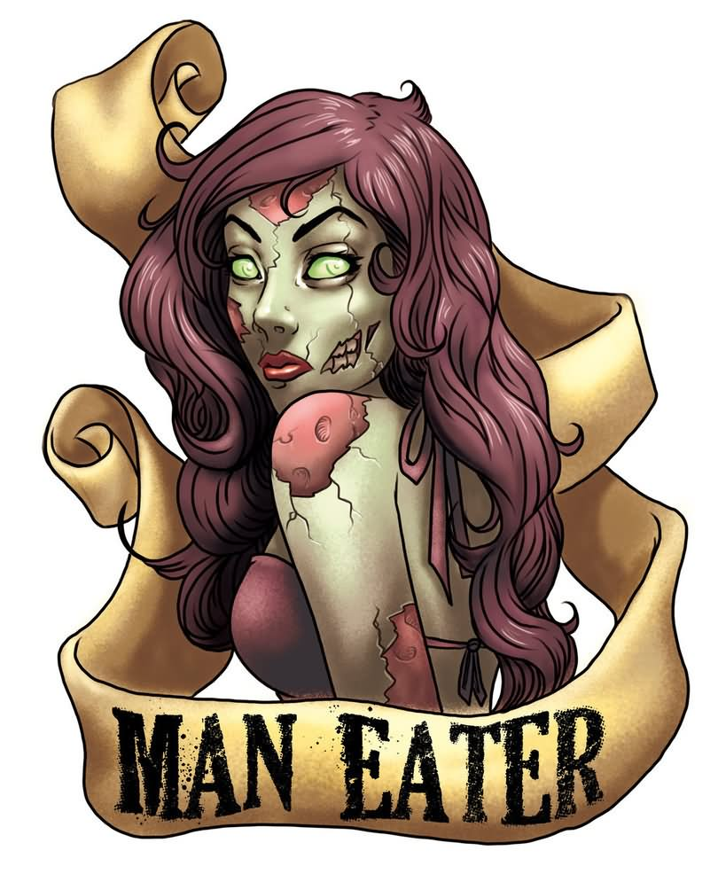 Tattoo pin up girls designs - Pin Up Zombie Girl With Banner Tattoo Design By Blackhawk45lc