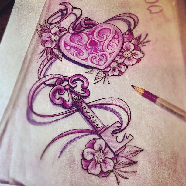 Pink ink heart shape lock and key with flowers tattoo for Girl nipple tattoo