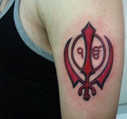 2f51b24d8 Red Ink Ek Onkar With Khanda Tattoo On Man Left Half Sleeve