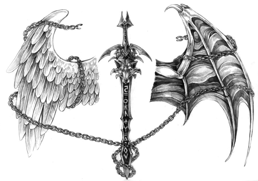 fec55c95e3d65 Sword With Angel And Devil Wing Tattoo Design By Nalavara