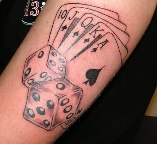 19 cool dice tattoos for Card tattoo designs