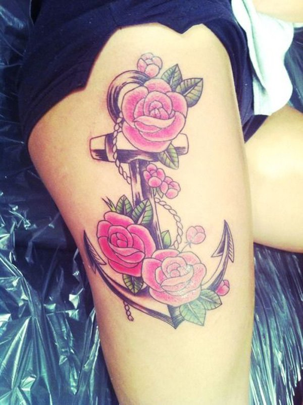 840528cc4 Beautiful Anchor And Rose Flowers Tattoo On Right Thigh