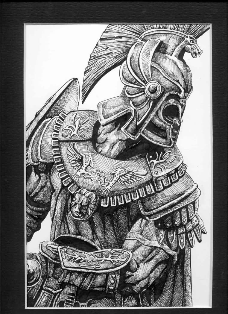 Black And Grey 3D Achilles Tattoo Design