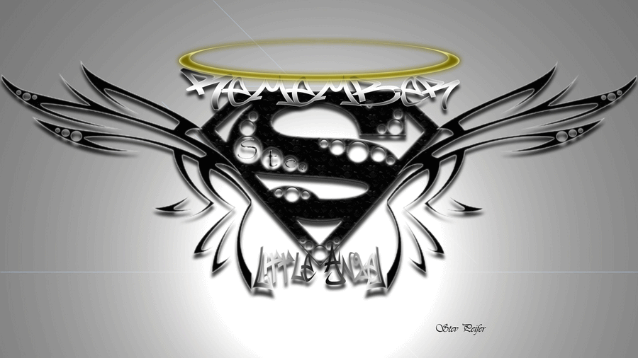 Black Superman Logo With Wings Tattoo Design By Steven