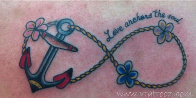 Infinity anchor tattoo on ribs