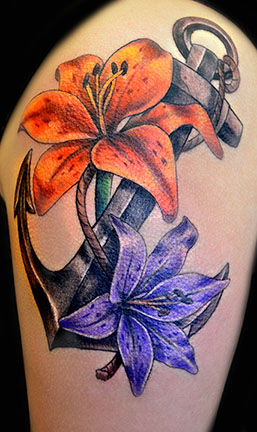 28 anchor tattoos with flowers for Anchor with flowers tattoo