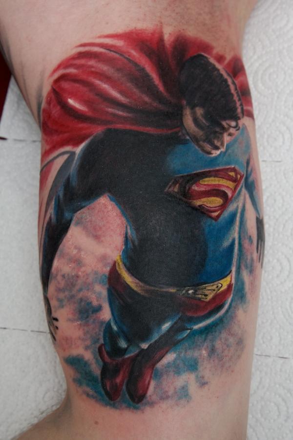 Colorful superman tattoo on half sleeve