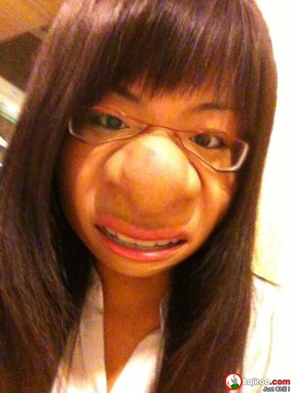Funny Asian Girl Fluffy Nose