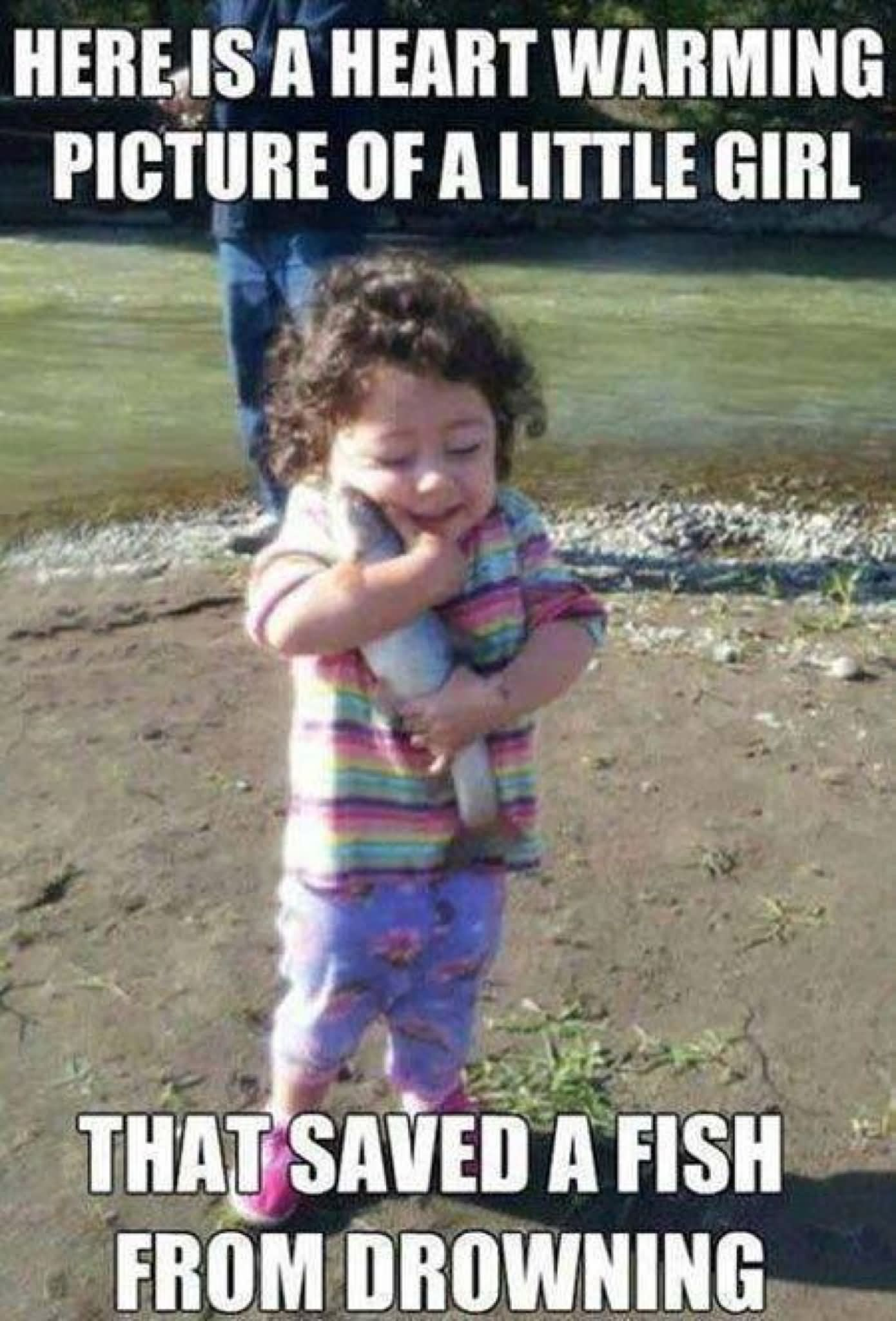 Funny little girl saved a fish from drowning meme image