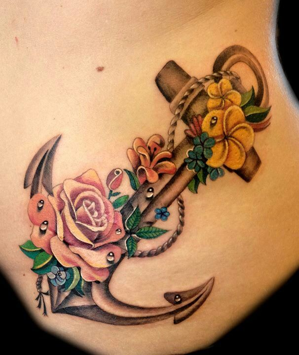 28 anchor tattoos with flowers for Rose flower tattoo designs