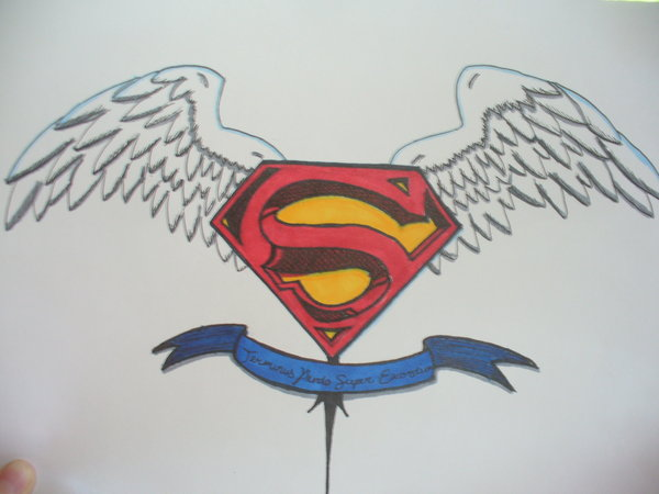 Superman Logo With Wings And Banner Tattoo Design By Enigmaticwrath