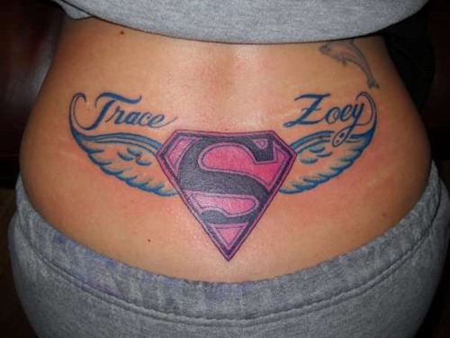 Superman Logo With Wings Tattoo On Lower Back