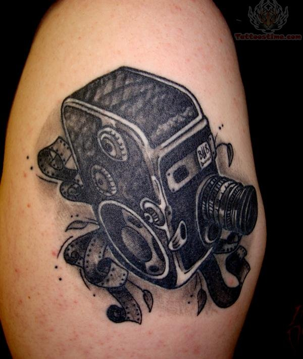 54 unique movie camera tattoos. Black Bedroom Furniture Sets. Home Design Ideas