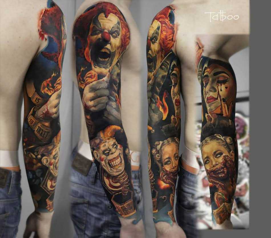 70 awesome clown tattoos. Black Bedroom Furniture Sets. Home Design Ideas