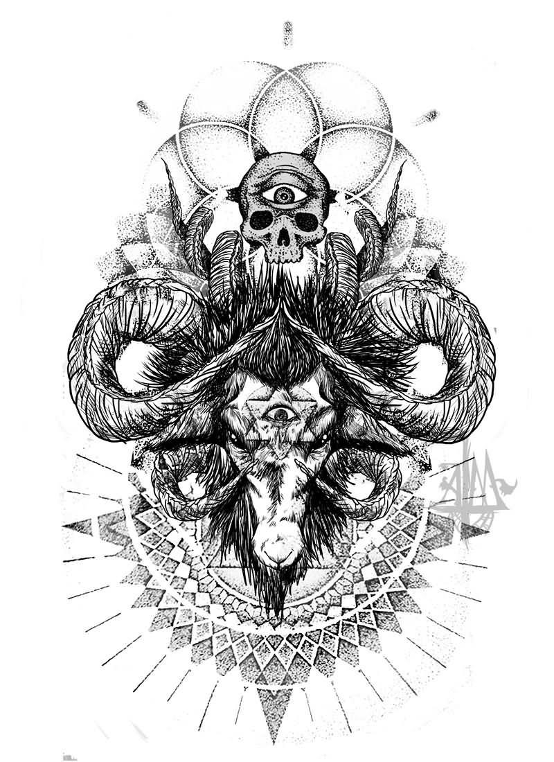 151bd01e227cb Amazing Goat Head With Skull Tattoo Design