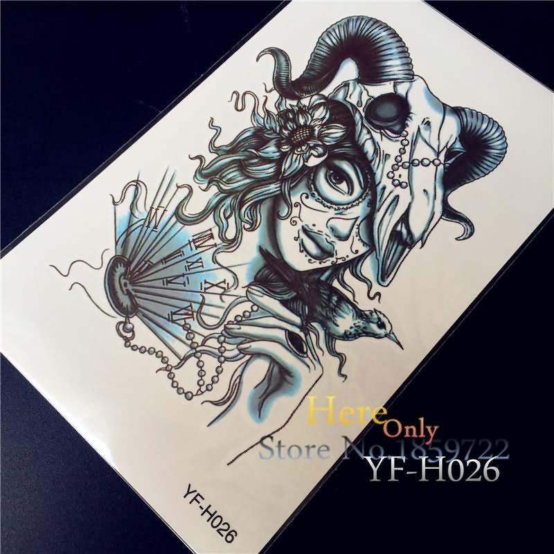 69ebee73285c3 Amazing Goat Skull On Girl Head Tattoo Design