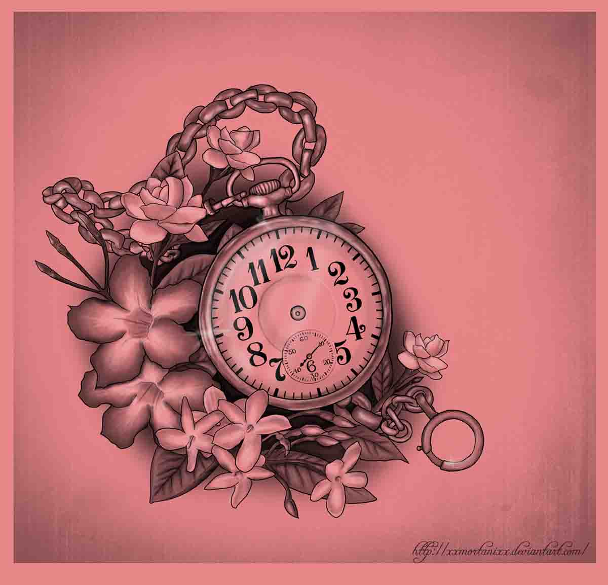 8c52c8a98 Attractive Pocket Watch With Flowers Tattoo Design