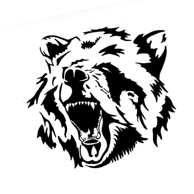 ed094680f6c30 Awesome Black Bear Head Tattoo Stencil By Pastel Samurai