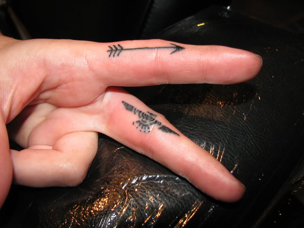 Aztec Eagle And Arrow Tattoos On Fingers