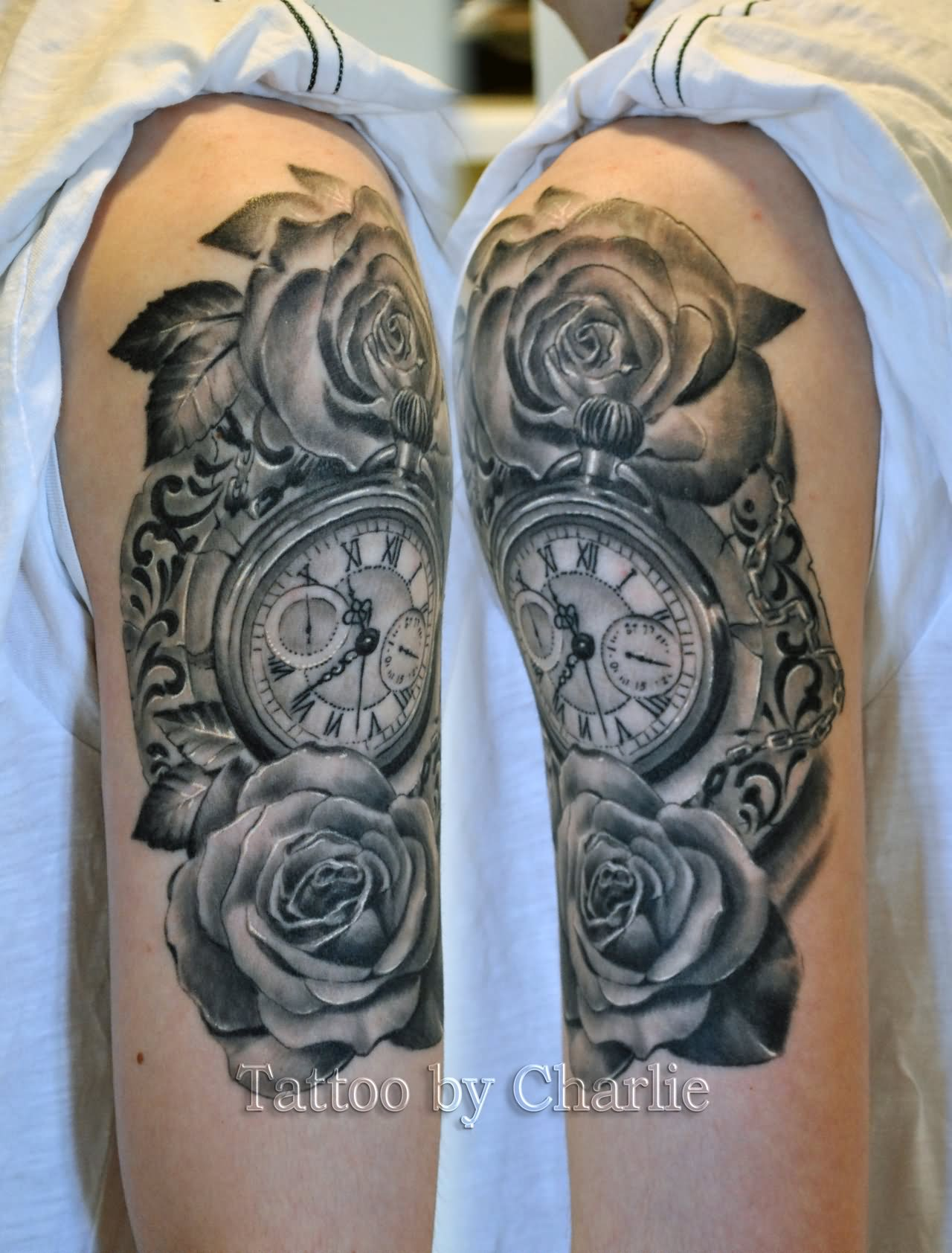 4643ccfe8cf89 Best Black And Grey Pocket Watch With Two Roses Tattoo On Half Sleeve By  Charlie
