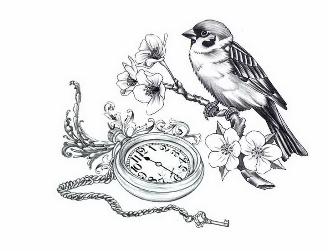 Pocket watch tattoo sketch  14+ Beautiful Watch Tattoo Designs