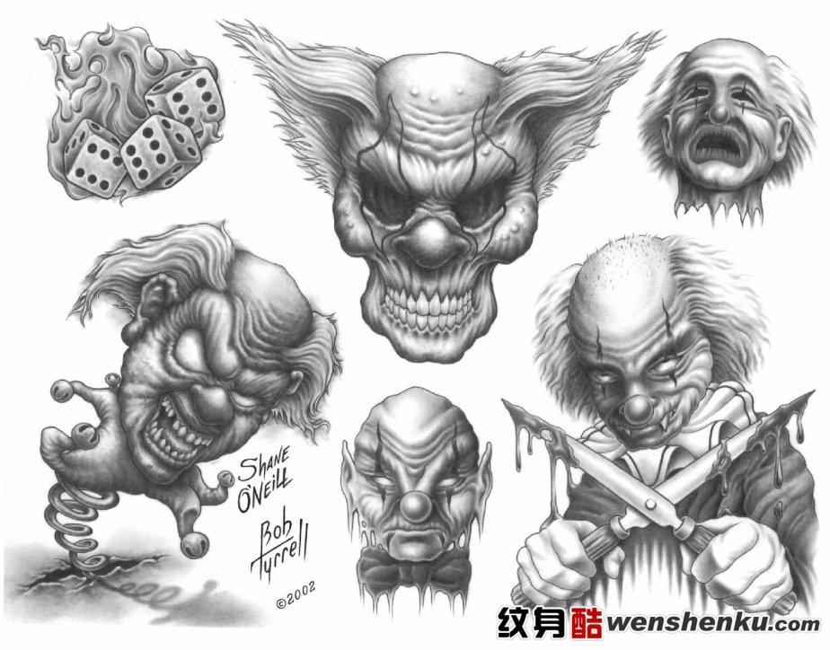 Tattoo Flash Art Black And White Guitar: 40+ Best Clown Tattoo Designs