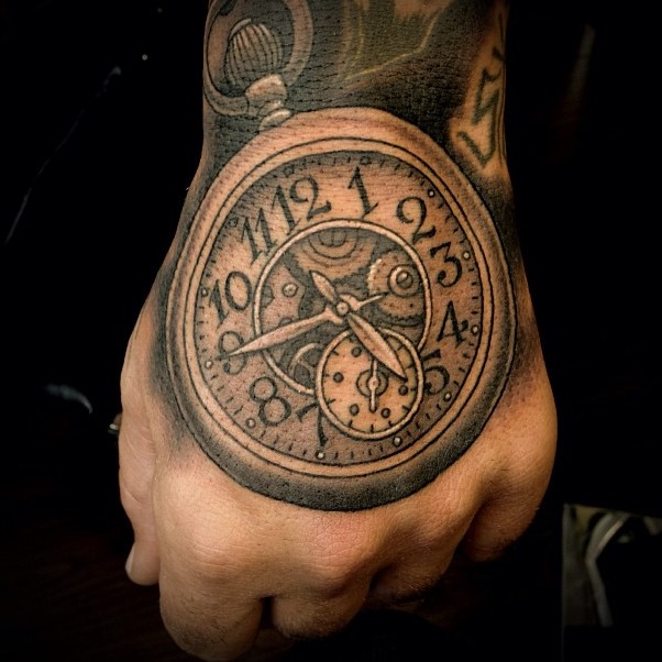 Black And Grey Pocket Watch Tattoo On Hand