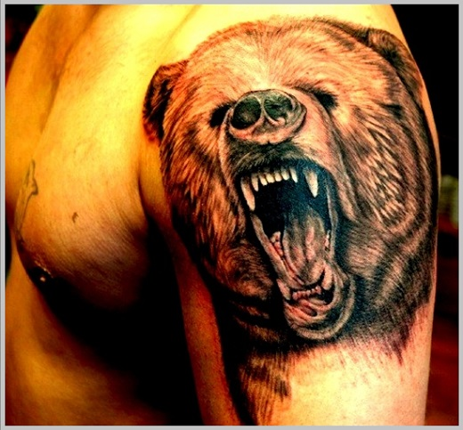 black and grey roaring bear head tattoo on left shoulder. Black Bedroom Furniture Sets. Home Design Ideas