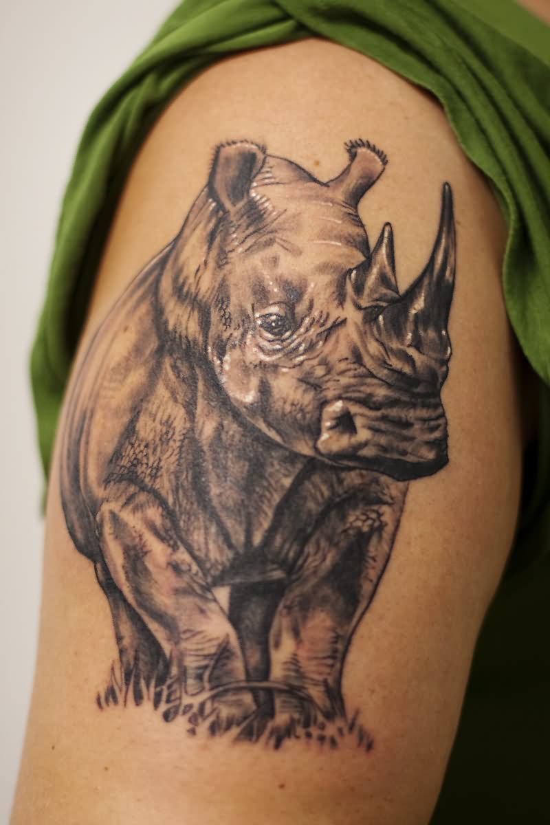 Black And White Rhino Animal Tattoo On Half Sleeve