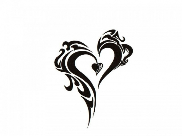 Black And White Tribal Heart Tattoo Design