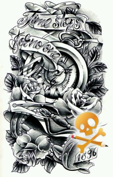 Gallery For gt Pocket Watch With Roses Tattoo Design