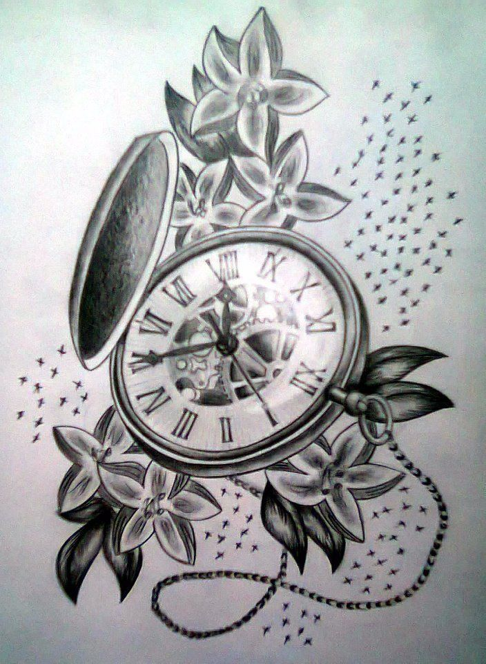 14 beautiful watch tattoo designs for Pocket watches tattoos