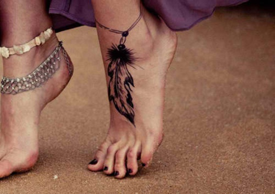 ffad49191 Black Ink Rosary Feather Tattoo On Girl Foot